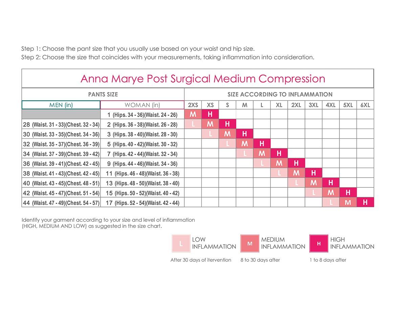 Medium Compression Size Chartcolombian Shapewear Waist Trainer Faja